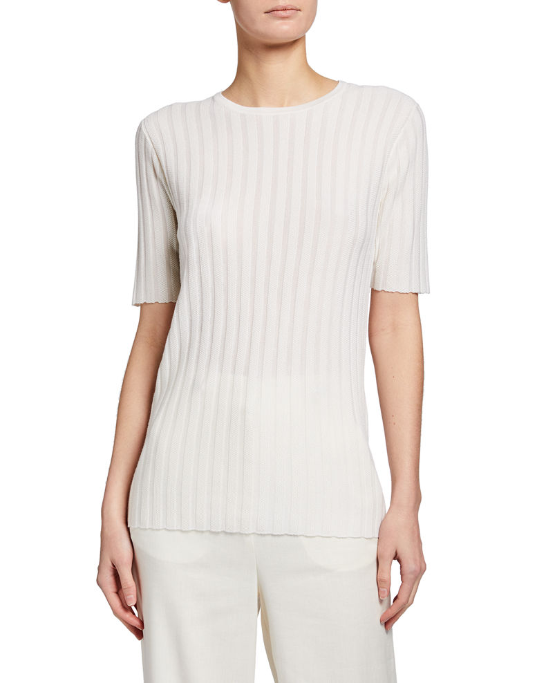 Gabriela Hearst Milandes Cashmere-Silk Ribbed Tee