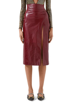 Gucci High Waisted Shiny Leather Skirt with Front Slit