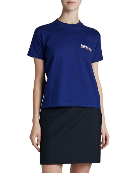 Balenciaga Fitted Crewneck T-Shirt with Political Logo
