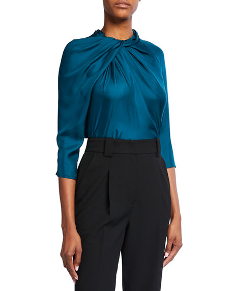 Partow Star Satin Twisted 3/4-Sleeve Blouse