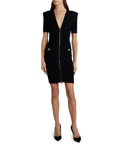 Balmain Diamond-Knit V-Neck Dress