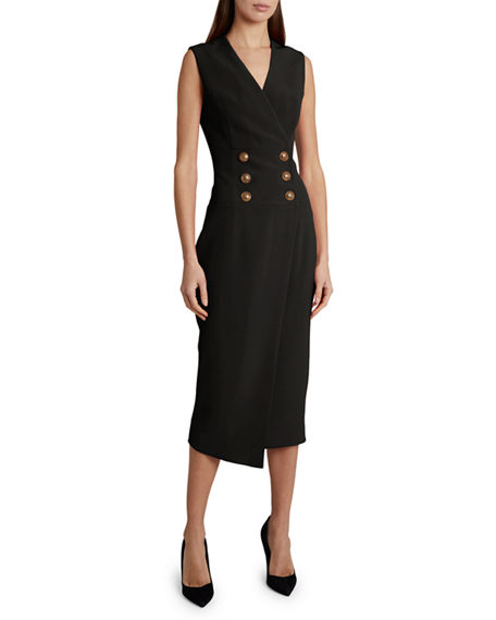 Balmain Crepe Button-Wrapped Midi Dress