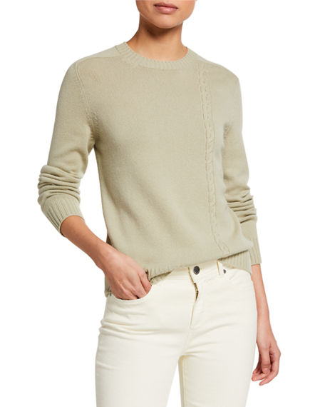 Image 1 of 2: Loro Piana Baby Cashmere Asymmetric Cable-Knit Sweater