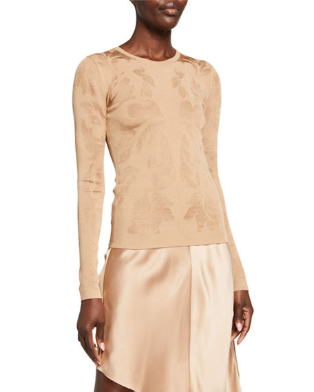 CUSHNIE Fitted Floral-Jacquard Crewneck Sweater