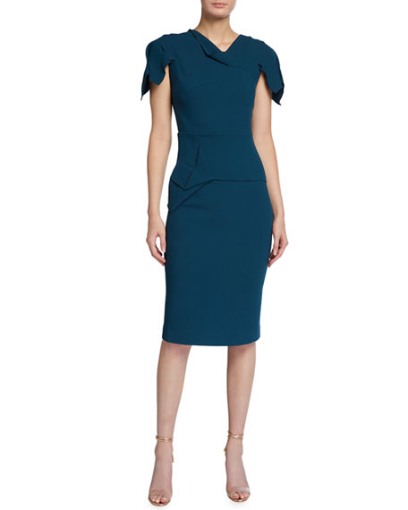 Roland Mouret Vernon Asymmetric Wool Crepe Sheath Dress
