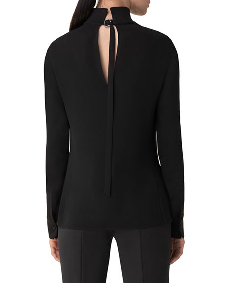 Image 2 of 3: Akris Silk Keyhole Tab Sleeve Button-Down Blouse