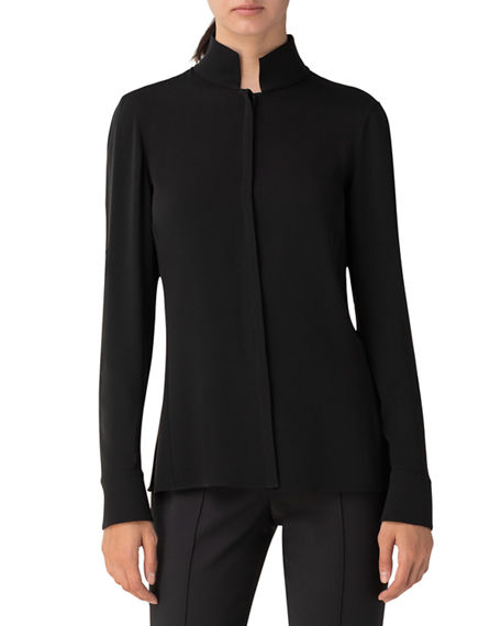 Image 3 of 3: Akris Silk Keyhole Tab Sleeve Button-Down Blouse