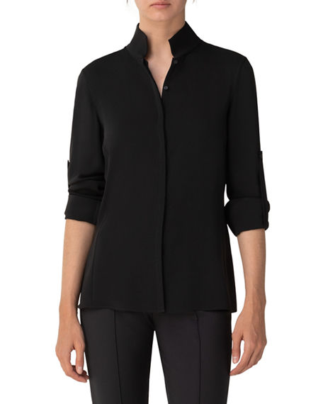 Image 1 of 3: Akris Silk Keyhole Tab Sleeve Button-Down Blouse