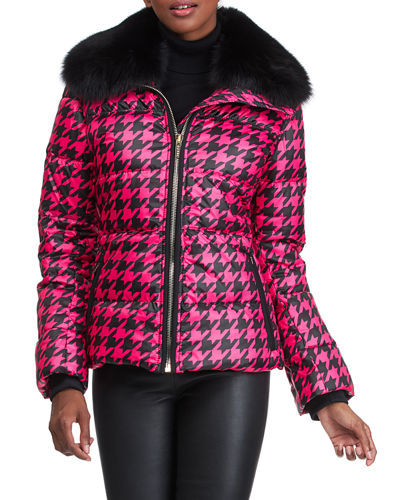 Apres-Ski Houndstooth Jacket With Detachable Fox Fur Collar