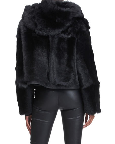 Image 2 of 4: Christia Reversible Shearling Lamb Jacket with Hood