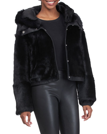 Image 3 of 4: Christia Reversible Shearling Lamb Jacket with Hood