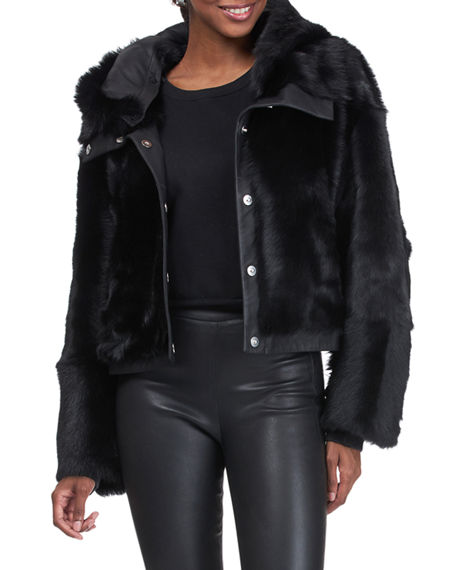 Image 4 of 4: Christia Reversible Shearling Lamb Jacket with Hood