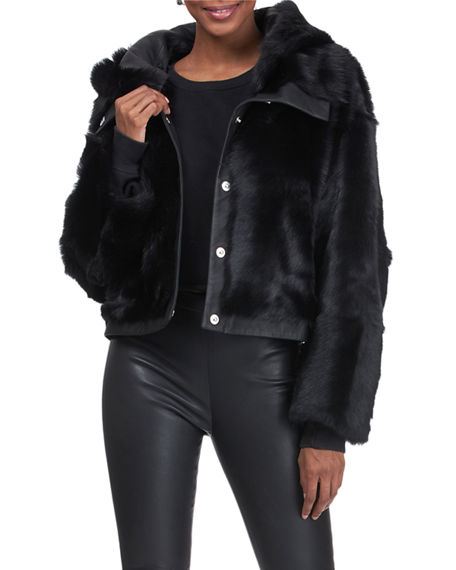 Image 1 of 4: Christia Reversible Shearling Lamb Jacket with Hood