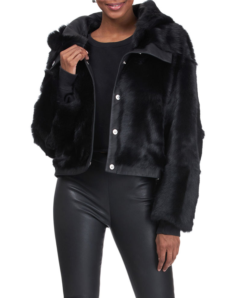 Christia Reversible Shearling Lamb Jacket with Hood
