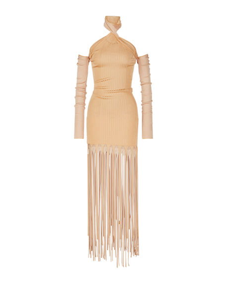 Bottega Veneta Fringe Ribbed-Knit Halter Dress