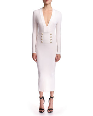 Tanming Womens Slim V Neck Long Sleeve Button Front Pockets Solid Mid Long Dress
