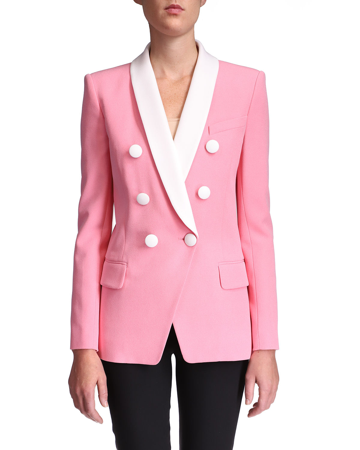 Shawl-Collar Double-Breasted Jacket