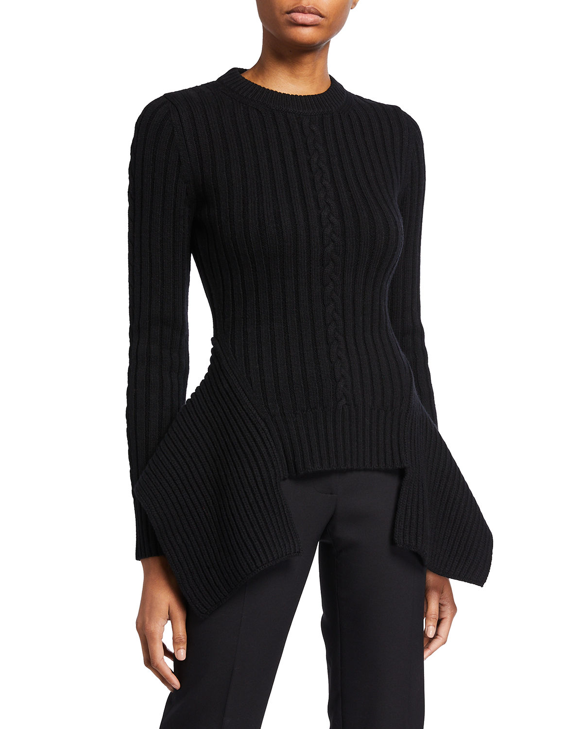 Engineered Wool-Cashmere Cable-Knit Sweater