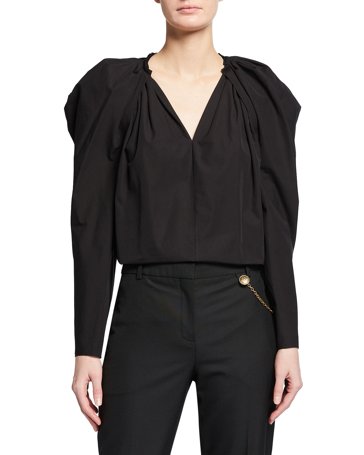 Givenchy PUFFY LONG-SLEEVE V-NECK TOP