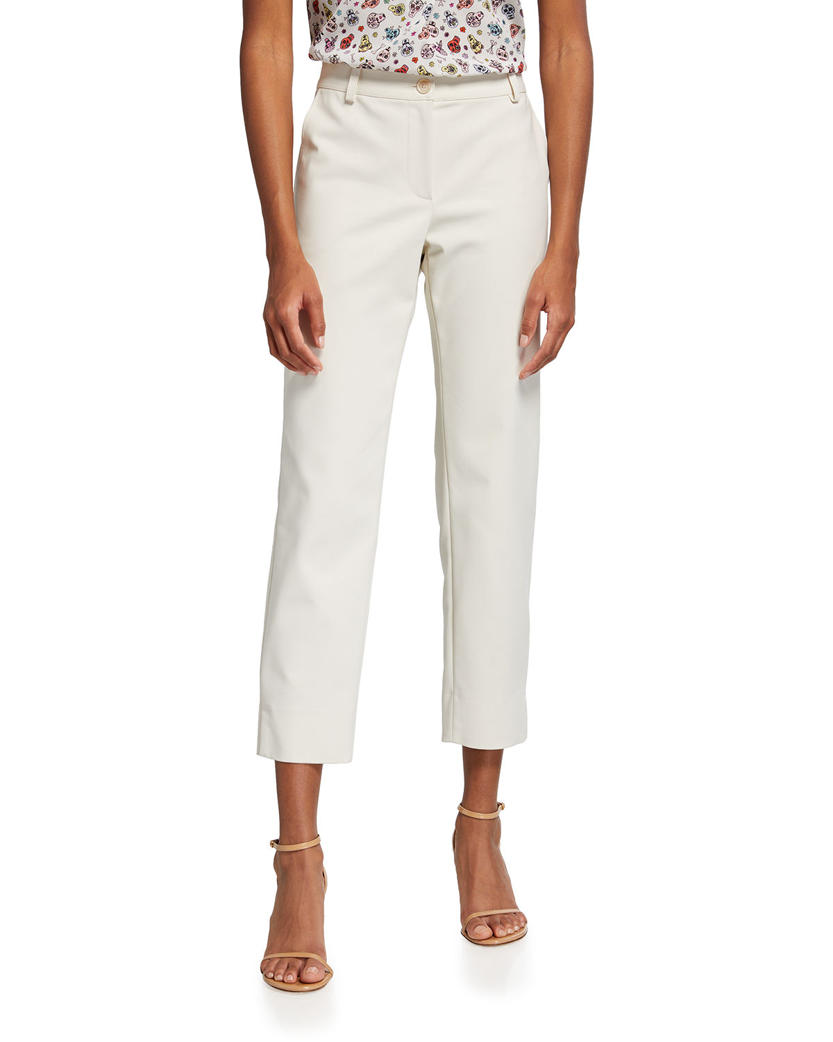 Cropped Mid-Rise Pants
