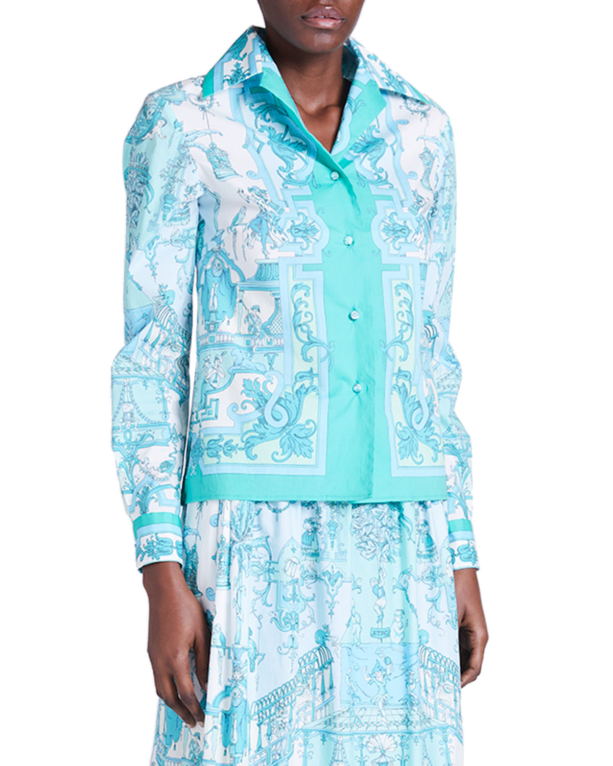 Etro Cottons TREE OF WONDERS PRINTED BUTTON-DOWN TOP