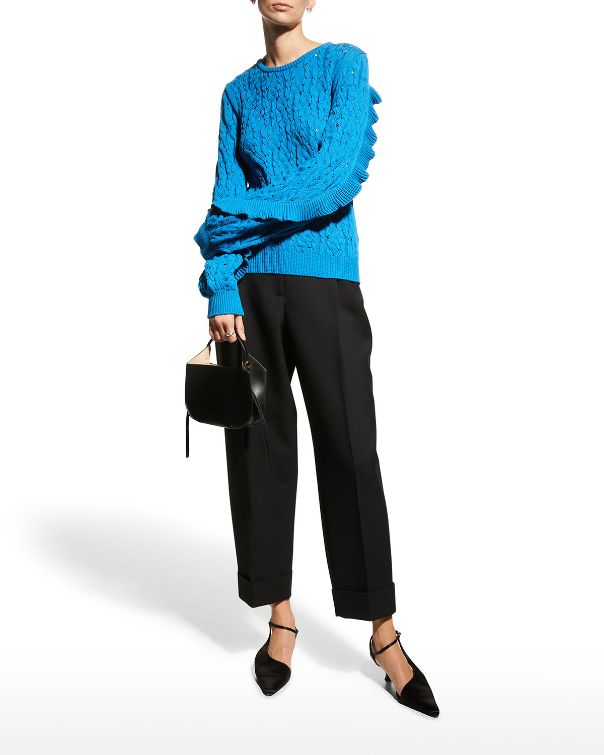 Ruffle-Sleeve Cable-Knit Sweater
