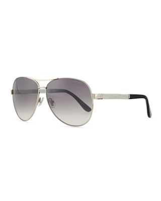 Image 1 of 3: Lexi Aviator Sunglasses with Crystal Temples