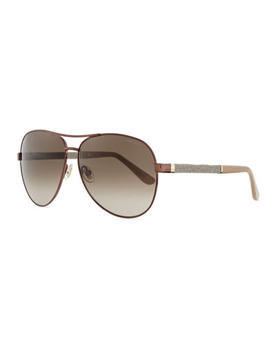 Lexi Aviator Sunglasses with Crystal Temples