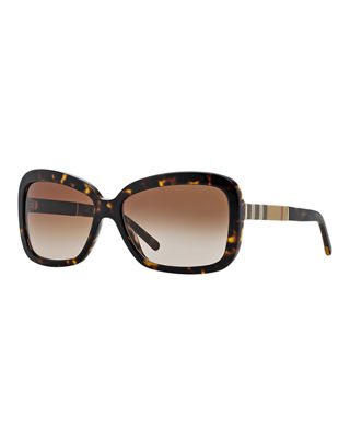 Burberry London Rectangle Sunglasses, Dark Brown Havana