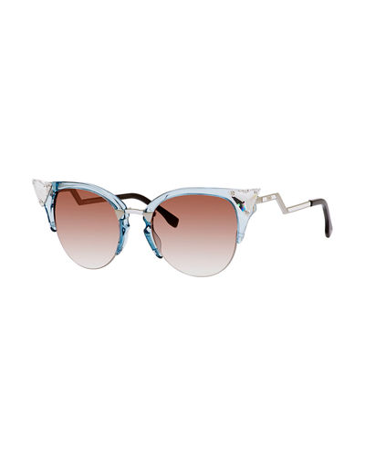 Iridia Cat-Eye Crystal-Tip Sunglasses