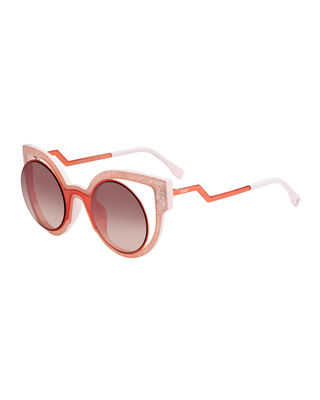 Fendi Paradeyes Open-Inset Round Cat-Eye Sunglasses
