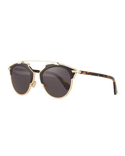 aa409b0bdc92 Dior So Real Leather-Trim Metal Sunglasses