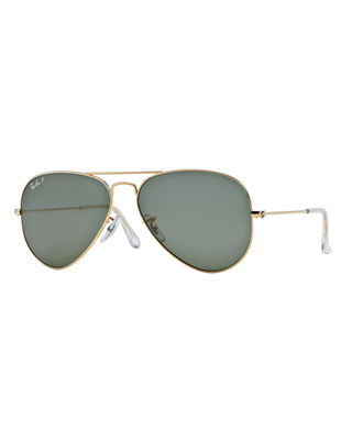 Ray-Ban Unisex Polarized Classic Aviator Sunglasses, 58Mm in Gold