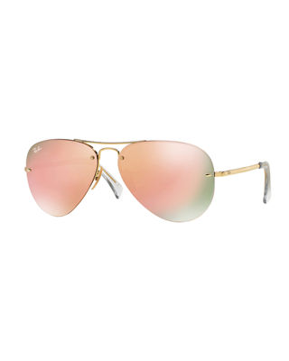 RAY BAN Ray-Ban Unisex High Street Mirrored Rimless Aviator Sunglasses, 59Mm in Gold Shiny/Green