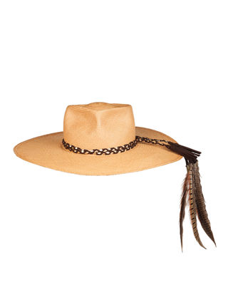 Image 4 of 4: The Talitha Panama Straw Hat w/ Feathers