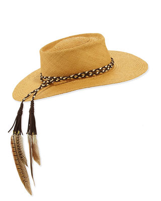 The Talitha Panama Straw Hat w/ Feathers