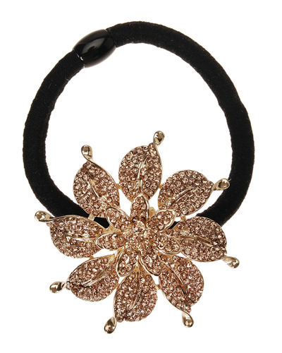 Rhinestone Flower Ponytail Holder