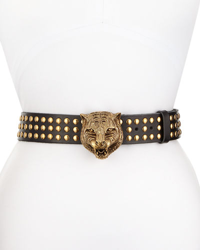 Gucci Studded Leather Tiger-Buckle Belt