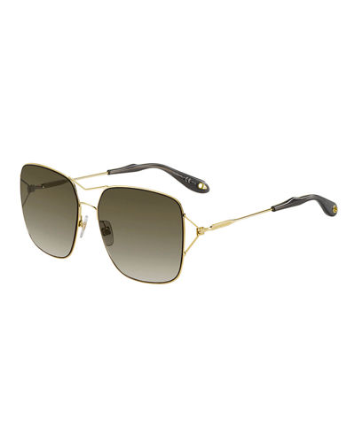 Metal Double-Wire Square Sunglasses