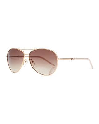 Image 1 of 3: Metal Curved-Brow Aviator Sunglasses