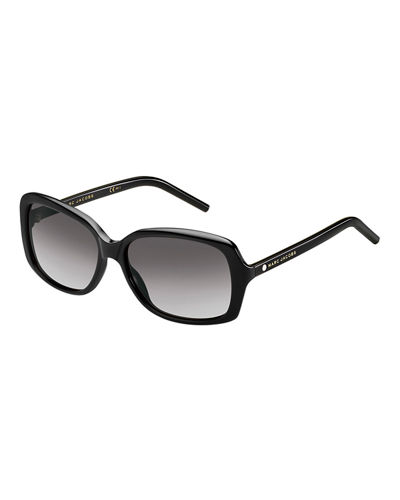 Rectangular Gradient Sunglasses, Black