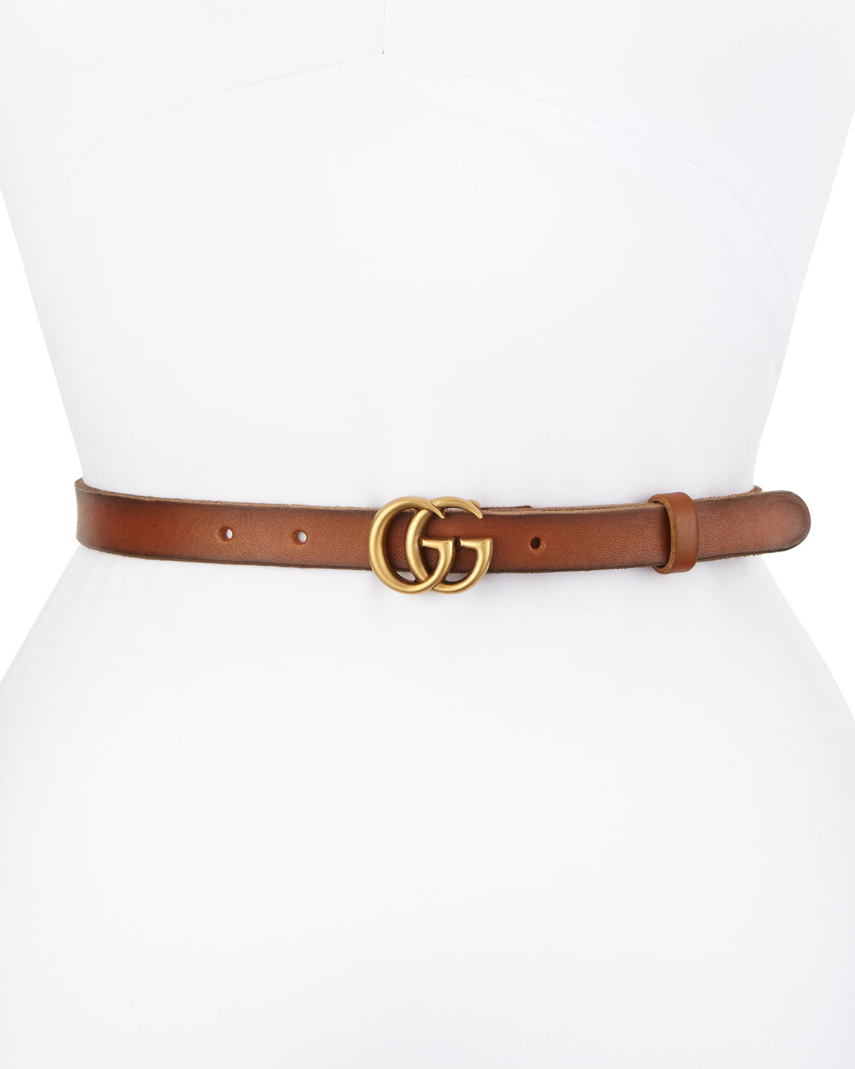 41952c53b78 Gucci Thin GG Leather Belt