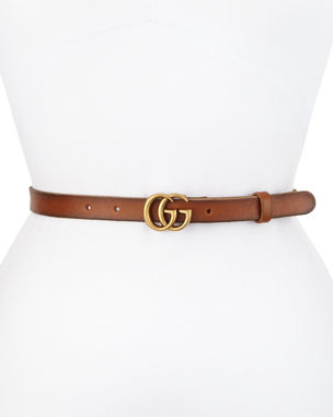 591410384fe Gucci Thin GG Leather Belt
