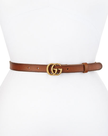 d2889f29aba Image 1 of 2  Gucci Thin GG Leather Belt