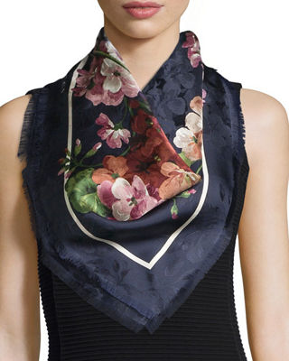 Image 1 of 2: Gerabloom Jacquard Square Silk Scarf