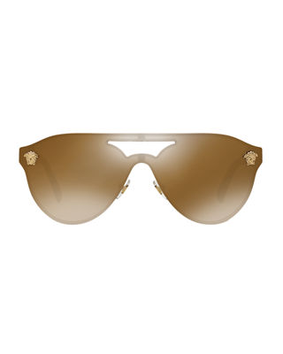 Image 2 of 2: Mirrored Shield Brow-Bar Sunglasses