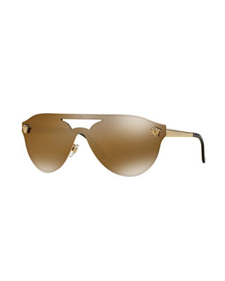 Versace Mirrored Shield Brow-Bar Sunglasses