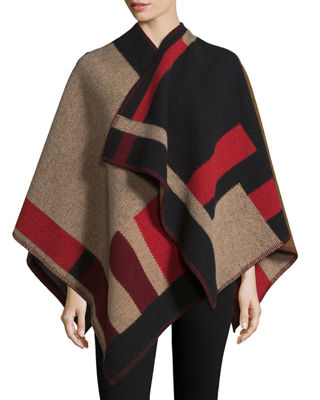 Colorblock Mega Check Cape