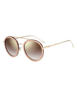 Trimmed Round Mirrored Sunglasses, Pink