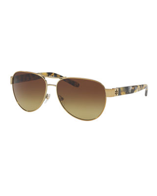 Gradient Contrast-Arm Aviator Sunglasses, Tortoise/Gold in Gold/Brown Gradient from Sunglass Hut